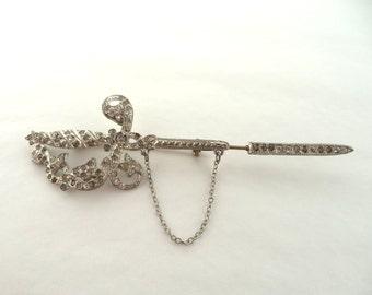 Vintage Reinad Sword Saber Hat Pin Brooch Silver Pot Metal Clear Rhinestones