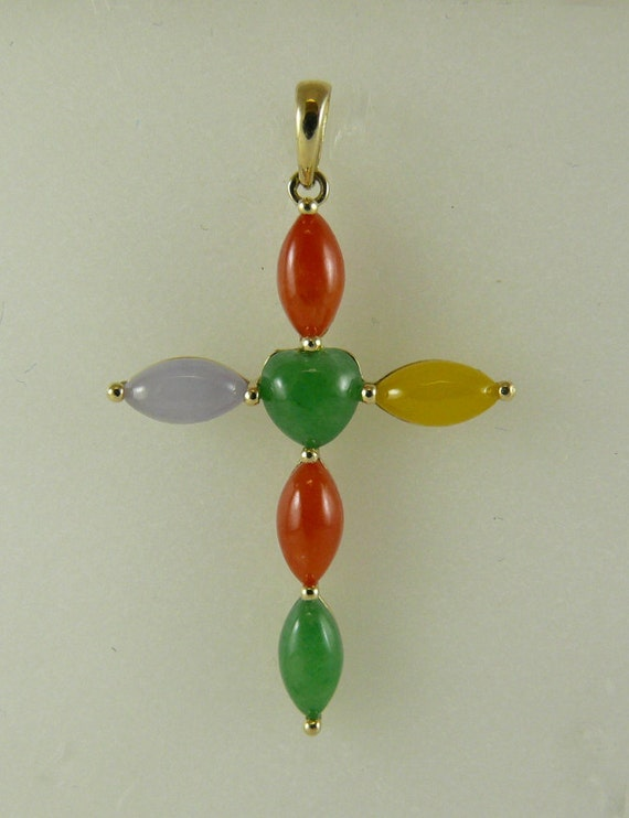 Jade Multi-Color Cross Pendant 14k Yellow Gold