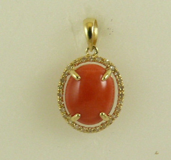 Momo Coral 9 mm x 11 mm Pendant 14k Yellow Gold with Diamonds 0.14ct