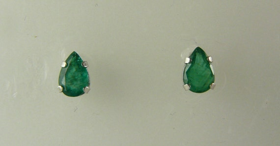 Emerald 0.72ct Stud Earring, Green, Marquise, 14k White Gold Post and Push Back