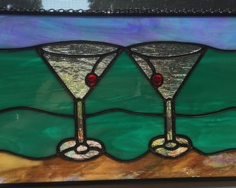 Martinis on the Beach Stained Glass Suncatcher Panel Glass Art