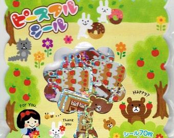 71pcs Kawaii Japanese Fairy Tale Snow White Themed Sticker Flakes Pack/Gift Seal Flake/Sticker Sack
