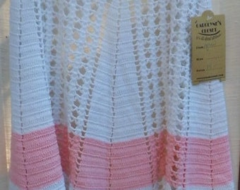 Vintage Crochet White and Pink Apron