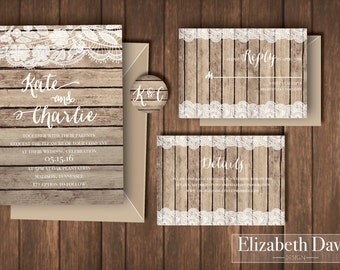 Shabby chic rustic wood and lace wedding invitation printable + RSVP insert + Details insert + matching envelope sticker, all customizable