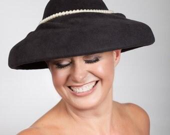 Emily - Black winter wedding hat in luxury velour fur felt with pearl trim