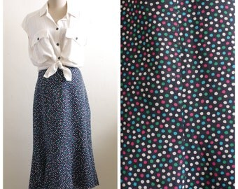 Vintage navy colorful polka dot midi skirt
