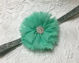 Mint Green Chiffon Flower on Silver Glitter Elastic Headband, Baby Glitter Headband (HB-1), Shabby Flower Headband