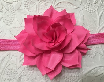 Hot Pink Petal Blossom on Hot Pink Elastic Headband (HB-22),Hot Pink Headband, Hot Pink Flower Headband, Baby Headband, Girls Headband