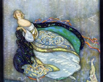 GORGEOUS Cinderella Midnight Run. Art Deco Cinderella Illustration. 1920's Fairy Tale Print. Digital Fairy Download.