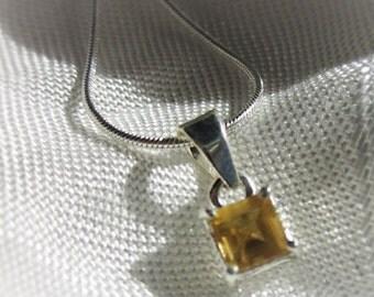 Bright, Square Citrine Gemstone, Silver Pendant Necklace