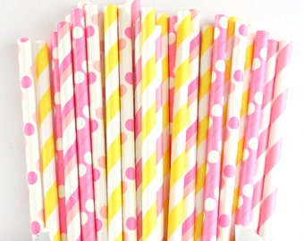 Pink and yellow paper straws-set of 25- pink lemonade straws, summer party straws, lemonade stand, lemonade party straws, wedding straws