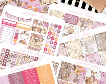 Woodland Friends - Floral Fall Themed Planner Sticker Weekly Kit // 170+ Stickers // Perfect for Erin Condren Vertical Life Planner