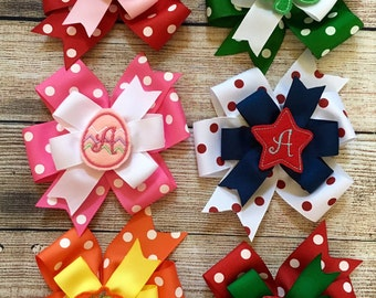 Set of 6 or 8 Monogrammed Stacked Pinwheel Hair Bow w/ Holiday Felties…Personalized Bows Every Month…COLORS MAY VARY if you don't choose!