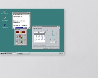 Retro Windows 95 Computer Invitation Set -- Nerd DIY Digital Printable