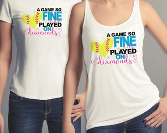 A Game So Fine, Women's Softball Tee, Softball, Women's Baseball Tee, Baseball, Softball Tee for Teens, Shirt, Juniors, Women, Teens, Teen