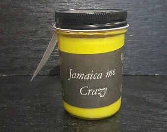 8oz Jamaica Me Crazy Scented Homemade Hand Poured Soy Wax Candle