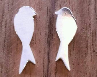 Bird studs sterling silver handmade