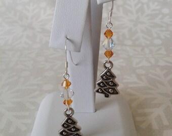 TierraCast Christmas Tree Charm & Swarovski Crystal Drop Sterling Silver Earrings