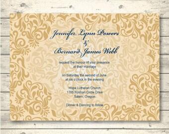 Gold and Navy Blue Elegant Printable Wedding Invitation | Blue TypeScript on a Modern Gold Damask