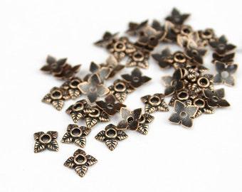 Antique Copper Leaf Bead Cap 6mm - 50 Pieces