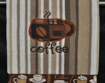 "Embroidered Dish Towel ""Small Coffee Cup"""