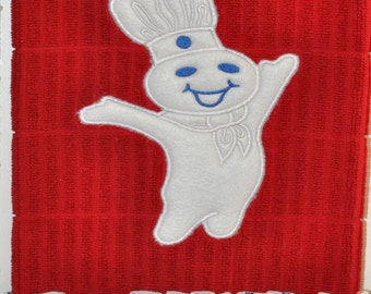 "Embroidered Dish Towel ""Pillsbury Doughboy"""