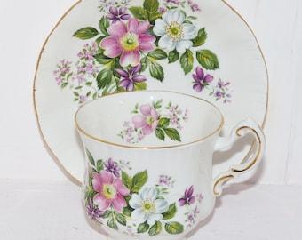Paragon Teacup and Saucer Flower Festival Bone China England 522