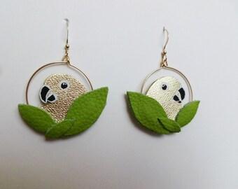 """Earrings hoops parakeets """"Plumille"""""""