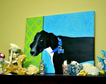 16 X 20 Acrylic Painting - Great Dane portrait