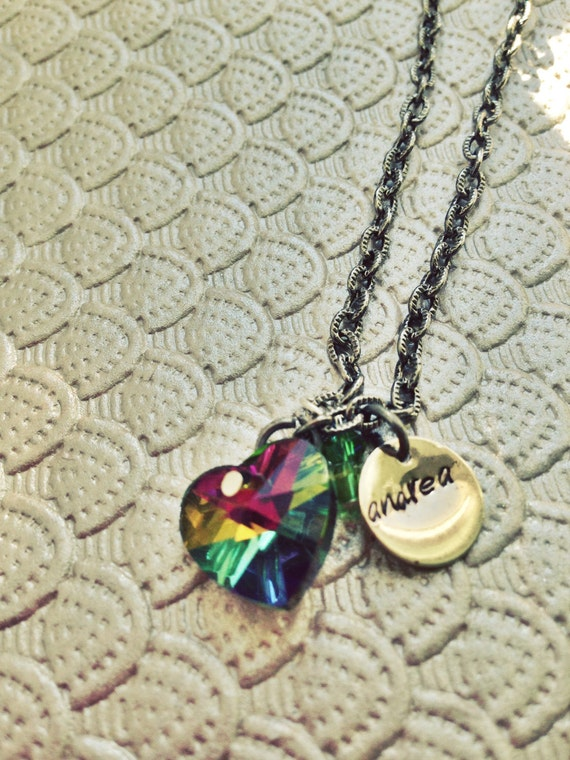 Personalized heart necklace, multicolored heart necklace, custom charm necklace, heart necklace with charms, gift for mom, gift for her