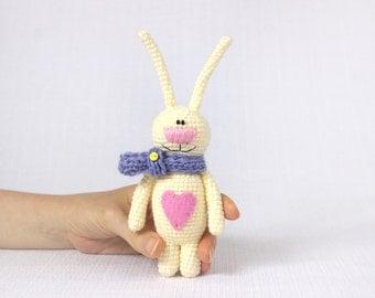 Valentine bunny, stuffed bunny with heart, Valentine gift, softie rabbit, Valentine plush toy, crochet bunny, Easter gift