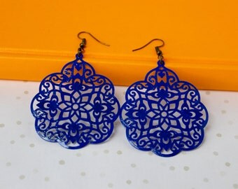 Handpainted - Cobalt Blue - Large Lace Filigree Earrings - Big Earrings - Boho Earrings - Bohemian