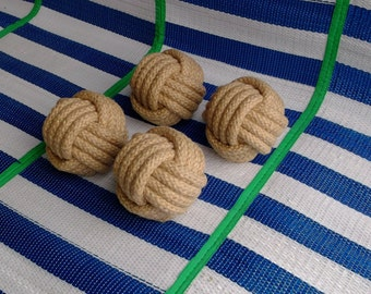12Monkey Fist/4 in wide/Natural Hemp Rope/Natural Hemp/Braided rope /Table Card Holders/ Beach Party Knots/