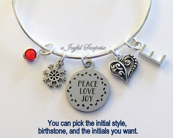 Peace Love Joy Bracelet, Snowflake Jewelry Heart Gift for Mother Present Christmas Charm Bangle Silver initial Birthstone Present letter