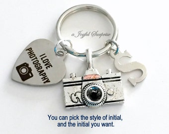 Photographer's KeyChain Camera Key chain Gift for Photography Student Graduation Keyring I love Photography initial letter custom men female