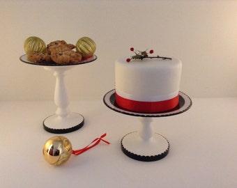 "Medium Size Cake Stand, Cupcake Stand,  Pedestal Cake Plate -- Black & Gold Medium 8.6"" Size on a Pedestal"
