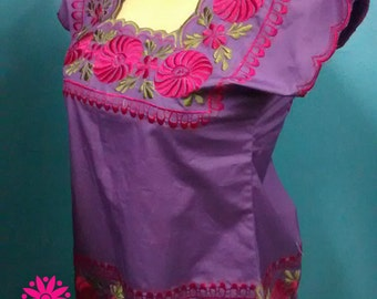 REHILETES Mexican blouse mexican embroidery embroidered blouse ethnic top bohemian top gypsy top boho chic hippie blouse mexican clothing