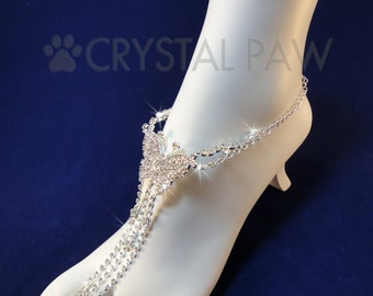 Crystal Butterfly foot Jewelry. Beach Wedding Accessory. Barefoot Sandals. Anklets. Pair. Set of 2 pcs.