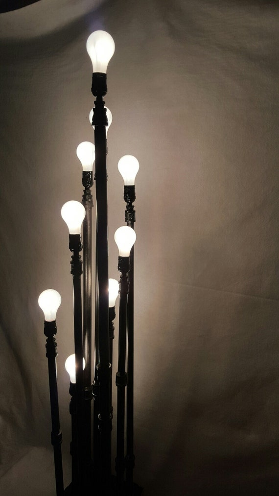 5 39 tall 9 light industrial black pipe standing by repurposedtx for Black pipe light fixture