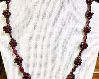 26'' Amethyst bead necklace.