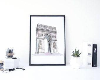 Arc de Triomphe, Arc de Triomphe Art, Monument Print, Arc de Triomphe Paris, Water Color Wall Art, Travel Art Print, Europe Art