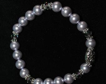 Swarovski Crystal and Pearl Bracelet in Lavender