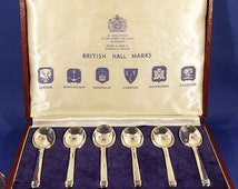A Vintage Old 1962 Mappin & Webb Solid Silver British Hallmarks each different Assay Office Set of 6no Spoons