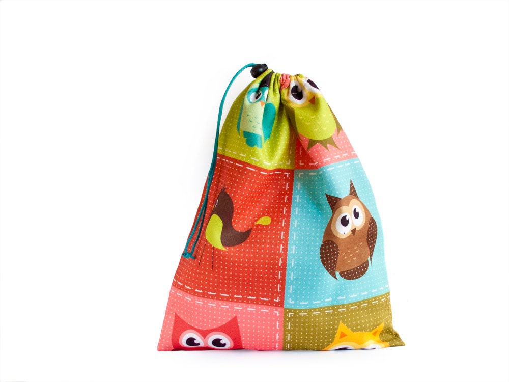 Bag Of Toys : Drawstring bag shoe kids toy with colorful owls