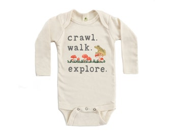 "Organic ""Crawl. Walk. Explore."" Long Sleeve Unbleached Snappie / Bodysuit"