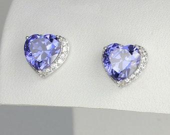 Tanzanite Earrings Sterling Silver / Tanzanite Earrings Silver / Tanzanite Stud Earrings