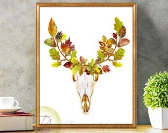 Fall Deer, Deer Decor, Deer Art, Fall Deer Antler, Deer Fall, Deer Wall Art, Fall Deer Print, Autumn Deer, Fall Decor, Fall Deer Art