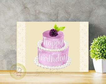 Best Friend Birthday, Card For Friend, Happy Birthday Card, Birthday Cards, Birthday Card, Happy Birthday,  Greeting Card, Lace Purple Cake