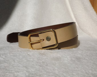 Light Tan Belt, Womens Belt, Vintage Belt, Womens Vintage Belt, Gold Belt Buckle, Small Belt, Womens Small Belt, Vintage Item, Leather Belt