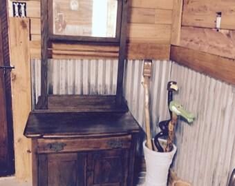 Wash Stand, Dresser, Antique Furnishing, Farmhouse Decor, Mirror